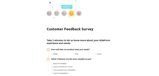 Free Feedback Form & Feedback Survey Tools | AidaForm
